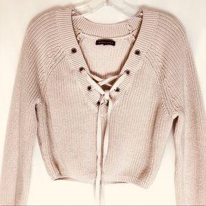 Kendall & Kylie Crop Sweater Long Sleeve Cotton